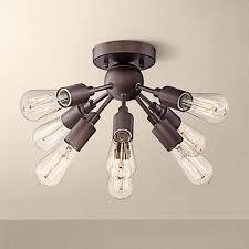 Light Bulb Ceiling Light Hemingson 20 3 4 Wide Bronze 8 Light Led Ceiling Light 8y693