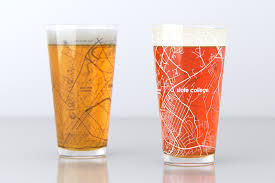 Penn State Map by State College Pa Penn State College Town Map Pint Glass Set