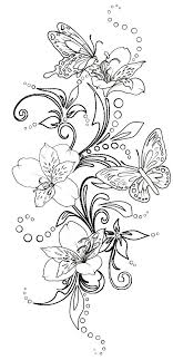 flowers and butterfly inked butterfly