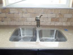 fascinating tumbled travertine subway tile backsplash photo
