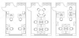 office floor plan symbols standard office furniture symbols on floor plans stock vector