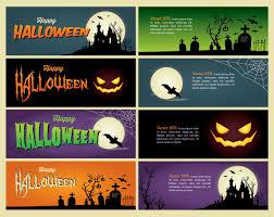 happy halloween banner creepy halloween header banner pack vector download