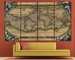 Canvas Map Of The World by Large Vintage World Map 3 Panel Wall Art At Texelprintart Com