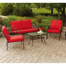 Walmart Patio Furniture In Store - mainstays stanton cushioned 4 piece patio conversation set red