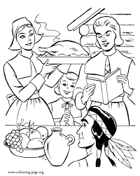 thanksgiving family gathered to the thanksgiving day coloring page