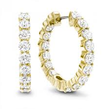 gold diamond hoop earrings arezzo gold 18k yellow gold 25mm inside outside diamond hoop