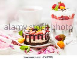 delicious individual mini cake cheesecake decorated with