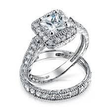 Diamond Wedding Ring Sets by 925 Silver Princess Cut Cz Engagement Wedding Ring Set