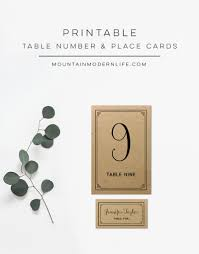 printable rustic diy table numbers and place cards