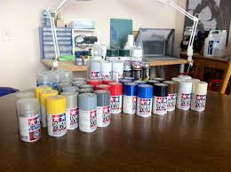 large cache of paints for model making and other uses desrets