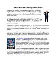 international marketing plan sample retail distribution business