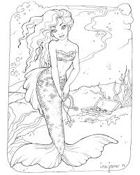 mermaid coloring detailed coloring pages eson