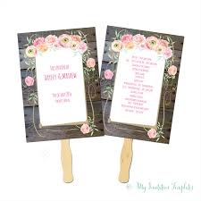free printable wedding program fans rustic fan program template with flowers and wood background