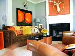 Orange Living Room Decor Orange Accent Wall Living Room Modern Room With Accent Wall
