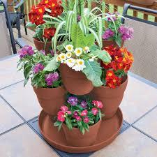 home depot outdoor decor emsco 13 in 3 tier resin flower and herb vertical gardening