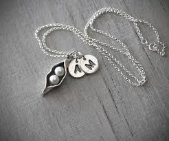 2 peas in a pod jewelry two personalized initials two pea pod necklace silver pea