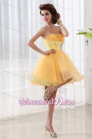 quince dama dresses a line strapless organza gold mini length dama dress for