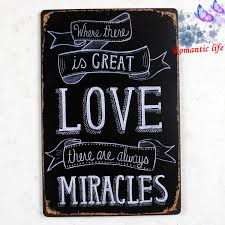 love quote miracles tin sign wall painting art vintage bar metal