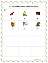 cut and paste the pictures in alphabetical order a f worksheet