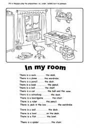 english worksheet in my room prepositions office supplies