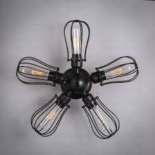 Flower Light Bulbs - retro flower type 5 light industrial wall lights