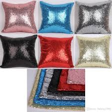 Cushion Core Square Pillow Case Sequins Solid Color Cushion Cover With