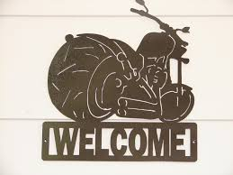 Harley Davidson Decor Motorcycle Harley Davidson Welcome Sign Home Decor Wall