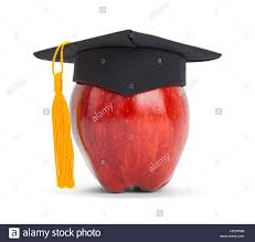 gold tassel graduation apple with graduation hat and gold tassel isolated on white stock