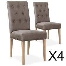 chaise capitonné lot de 4 chaises gaya capitonnées en tissu taupe achat vente