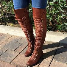womens boots the knee slim boots lace up the knee high pu boots s