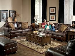 another color idea for a living room with dark brown leather