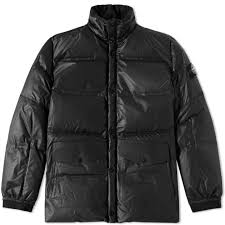 stone island leather down jacket black end