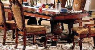 acme chateau de ville double pedestal dining table in cherry 04075