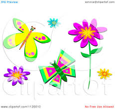 cartoon pictures of flowers and butterflies clipart collection