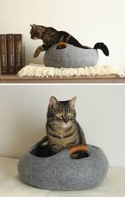 these felted cat beds would blend in perfectly with any modern