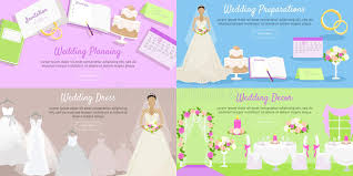preparation of event plan for wedding wedding planning preparation decor dress banner stock vector