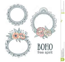 set of ornamental boho style frames with flowers stock vector