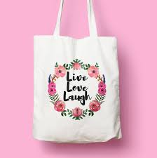 vintage floral awreath live love laugh natural white
