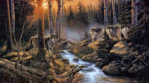 animals woods nature wolf artistic wood trees paintings print