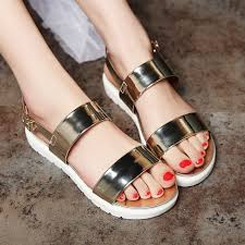 new summer neon shoes women fashion flat sandals girls gold silver