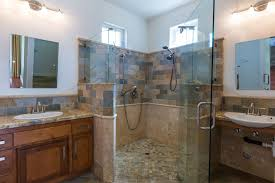 Slate Tile Bathroom Shower Rustic Master Bathroom With Slate Tile Floors Flat Panel