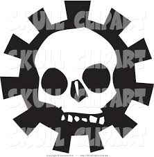creepy clipart vector clip art of a creepy white skull over a gear on black and