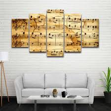 music note home decor 5 panels printed artistic music notes picture modular painting on