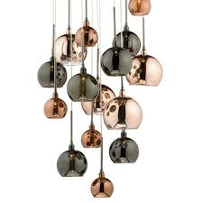 Chrome Light Pendant 15lt G4 Spiral With Copper Dark Copper And Bronze Glass15 Light