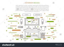 interior design landing page linear vector stock vector 372376630