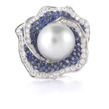 diamond pearl rings images 93ct diamond blue sapphire pearl 18k white gold ring jpg