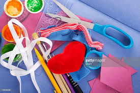 various colorful arts and crafts supplies stock photo getty images