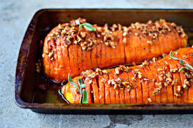 butternut squash for thanksgiving maple pecan hasselback butternut squash food to glow
