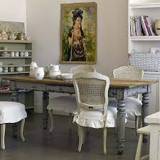 living room shabby chic room with distressed dining table and