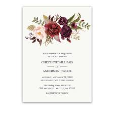 burgundy wedding invitations floral watercolor wedding invitations burgundy wine
